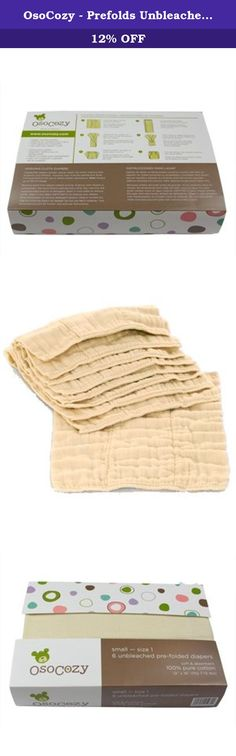 OsoCozy - Prefolds Unbleached Cloth Diapers, Size 1, 6 Count - Soft, Absorbent and Durable 100% Indian Cotton Natural Diapers For Infants - Highest Quality & Best-Selling Cloth Diapers Sold Online. The internet's best-selling prefold cloth diaper has earned it's place for good reasons - meet OsoCozy Prefolds Unbleached Cloth Diapers, the softest, most absorbent and durable natural diapers for infants. Size 1 fits infants from 7-15 lbs and are generally used with diaper covers or plastic...