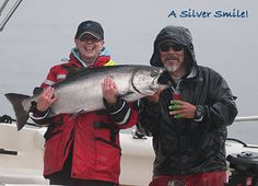 A Silver Smile! Marilyn Sakiyama landed this gorgeous 32-pound spring with the help of guide Butch, Haida Gwaii. http://www.peregrinelodge.com/blog.php?p=259