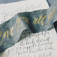 Handmade paper calligraphy vows // ribbon tying ceremony with vows painted on // calligraphy and illustration and design by Written Word Calligraphy Wedding Invitation Suite, Wedding Stationary, Invitation Cards, Event Invitations, Gala Invitation, Invitation Design, Beautiful Calligraphy, Wedding Calligraphy, Calligraphy Watercolor