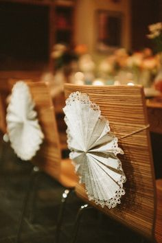 doily and book page pinwheels as chair backs // photo by Reception Decorations, Birthday Decorations, Event Decor, Pew Decorations, Wedding Chairs, Wedding Table, Our Wedding, Diy Wedding Favors, Wedding Ideas