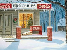 This Coca-Cola themed jigsaw puzzle features artwork by Jim Harrison. The painting shows a country grocery store on a winter's day. A Christmas tree can be seen through the window of the store. Vintage Coca Cola, Coke Ad, Pepsi, Illustration Noel, Illustrations, Christmas Scenes, Christmas Past, Christmas Ideas, Christmas Puzzle