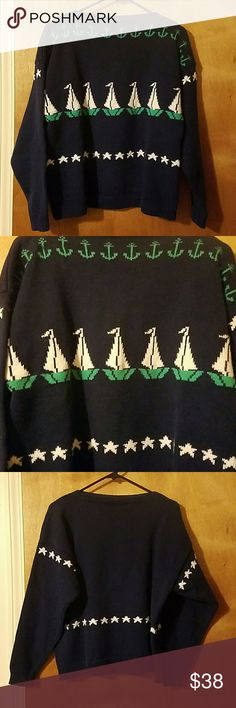 Vintage Grinns, Inc 100% Cotton Sweater Show your nautical side with this beautiful sweater. All heavy cotton knit, this'll keep you warm and looking cool. Navy with green anchors and white stars. It has a slit/boat neck. Excellent condition. Fits up to a 10. No trades, holds. Firm price.  Thank you! Grinns, Inc  Sweaters