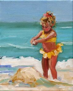 "Great beachy colr scheme , ""itsy bitsy"" - Original Fine Art for Sale - © carol carmichael Seaside Art, Beach Art, Oil Painting On Canvas, Painting & Drawing, Painting People, Art Themes, People Art, Art Wall Kids, Wall Art"