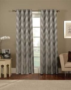 Loce these grey Ikat Chevron Grommet Panel Curtain