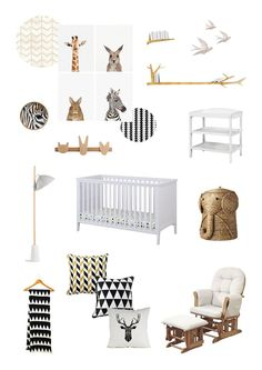 Kub Nursery Estrella Cotbed White With Black And White Decor And Some Fun  Animal Prints
