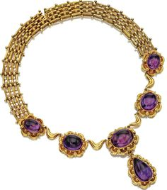 GOLD AND AMETHYST NECKLACE, CIRCA 1835 The center set with 5 oval cabochon amethysts within gold scalloped frames, supporting a pear-shaped cabochon amethyst pendant, the back composed of segments of stippled and plain gold links accented with beads, length 17½ inches, pendant detachable.