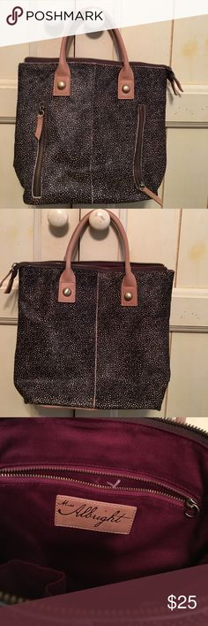 "👛Cute leather bag Miss Albright dark brown calf hair/cow leather bag, zip top, 2 front zip pockets, zip pocket & 2 slip pockets in clean interior, 9""W x 9""H x 4-1/2""D, 4"" leather handles, missing leather pull on inside zipper and crossbody strap was cut off...still cute & plenty of use left! Anthropologie Bags"