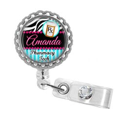 Retractable ID Badge Reel Personalized Pharmacy Tech by PoshReels, $7.95