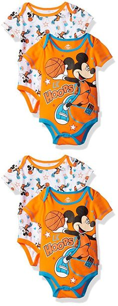 Disney Baby Boys' Mickey Mouse Adorable Soft Two-Pack Bodysuits, Basketball Orange, 6-9 Months