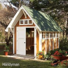 Garden Shed Illustrations and Materials List These illustrations and this materials list are a part of the Garden Shed that appeared in the July/August, 2008 issue of The Family Handyman magazine. Shed plans. Diy Storage Shed Plans, Backyard Storage Sheds, Wood Shed Plans, Shed Building Plans, Backyard Sheds, Outdoor Storage, Building Ideas, Building Design, Garage Plans