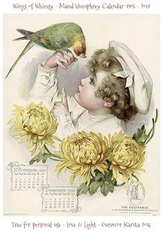 Wings of Whimsy: Maud Humphrey Calendar 1905 #vintage #ephemera #freebie #printable #calendar #maud #humphrey