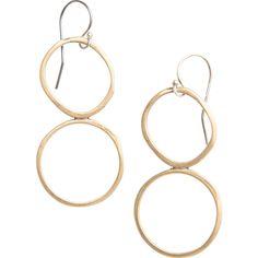 Double Yellow Bronze Circle Earrings