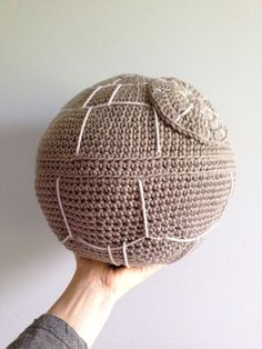 This is an awesome gift for a Star Wars fan or collector!  This Star Wars inspired Death Star pillow is crocheted with soft grey yarn and then