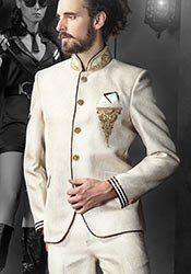 Off White Jodhpuri Plus Size Suit