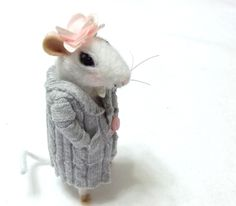 Primrose is A Needle Felted Mouse  A Soft by WildWoodHollow, $68.00