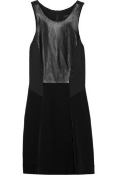 Rag & Bone Adeline Satin and Leather Dress
