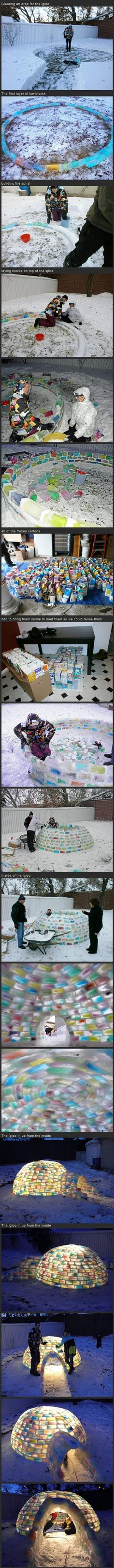 Colored ice igloo - this is SO cool! I don't have enough patience to do this.