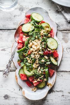 cucumber and watermelon salad.