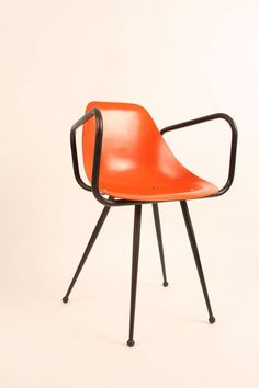 René-Jean Caillette; Fiberglass and Enameled Metal Armchair, 1950s.