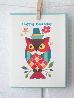 Happy Birthday Owl Vintage Style Greeting Card  Pinned by www.myowlbarn.com