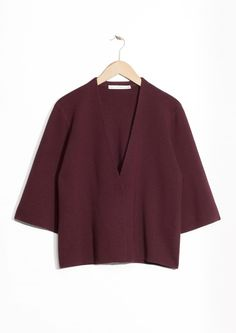 & Other Stories image 1 of Oversized Knit Cardigan  in Burgundy