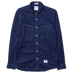 """""""Pork"""" L/S Indigo Lawn Western Shirts"""