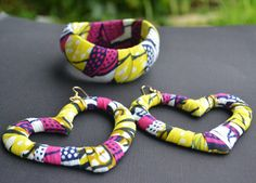 African Wax Fabric Bangle and Heart Shaped Earrings by MarcieRoxx, $35.00