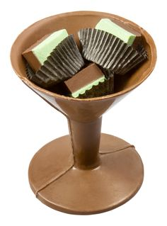 Chocolate Martini Glass with Mint Silk Duets™. Available in milk, dark and white chocolate.