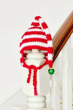 Adorable free Baby Candy Cane Elf Hat Crochet Pattern via Hopeful Honey