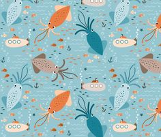 squids and submarines on spoonflower