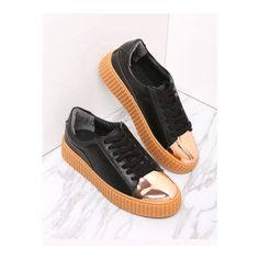 SheIn(sheinside) Black Contrast Round Toe Rubber Sole Sneakers featuring polyvore women's fashion shoes sneakers black flatform shoes black flatforms lace up sneakers sports trainer black laced shoes
