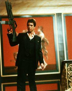 Al Pacino is Tony Montana in Scarface (1983) from Brian De Palma.