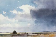 Edward Seago, R.W.S. (1910 - 1974, UK) Marsh and sky. watercolour. 35.5 х 53 cm. (14 х 20Уг in.) #watercolor jd