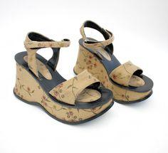 Vintage shoes / 90s floral platform wedge sandals / 3738 by nemres, $72.00