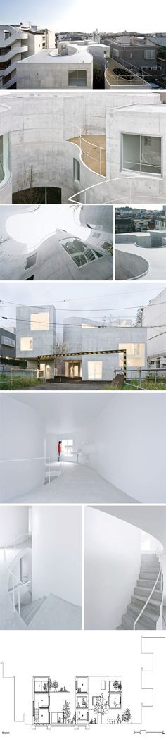 "Okurayama公寓: 这种室内外的空间关系存在于东方的传统文化之中,一种通透,融合,不分内外的交融关系。妹岛曾经说:""我觉得我想找到某种不用透明材料的透明性,不是物理上的透明,而是通过平面组织的方法。""——这个方法应该是将室外的空间纳入到这个建筑的平面设计中,成为一个整体,建筑的内部和外部在平面上彼此穿透,从而达到透明。"