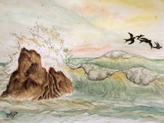 """""""Splash"""" [Water color on Paper]  ... an afternoon in the ocean ..."""