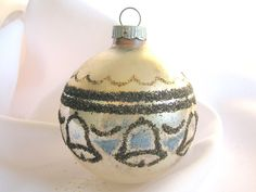Vintage Silver Shiny Brite Christmas Ornament with by bythewayside, $15.00