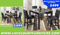 TABLE + 4 CHAIRS or COUNTER HEIGHT TABLE + 4 CHAIRS ONLY $499 #longislanddiscountfurniture #furniture #diningtable #diningroom #discount #countertable www.longislanddiscountfurniture.com