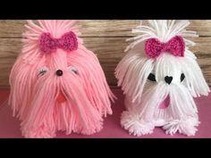 Yarn Dog/yarn Puppies/Best out of waste yarn. Easy Yarn Crafts, Pom Pom Crafts, Diy Crafts Videos, Diy Crafts To Sell, Fun Crafts, Paper Crafts, Diy For Kids, Crafts For Kids, Yarn Animals