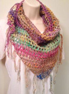 Green  and Pink Crochet Shawl by SueAnnesKnitShoppe on Etsy