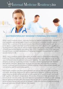 Nephrology Residency Personal Statement Sample  Internal Medical