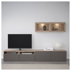 IKEA - BESTÅ TV storage combination/glass doors walnut effect light Living Room Tv Cabinet, Living Room Tv Unit Designs, Ikea Family, Tv Furniture, Tv Wall Design, Tv Storage, Tv Cabinets, China Cabinets, Glass Shelves