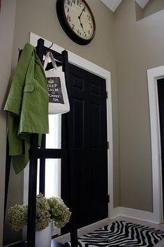 I love the look of the black doors! The Yellow Cape Cod: 31 Days of Character Building: Simple Builder Door Upgrade Black Interior, Decor, Custom Front Doors, White Trim, Black Interior Doors, Home Projects, Home Decor, Black Doors, Doors Interior