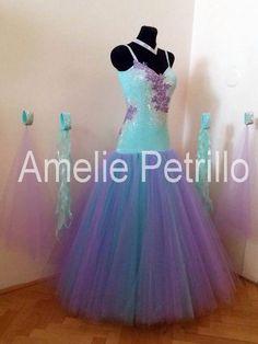 Amelie Petrelli ballroom dress - cyan blue with purple modern dress