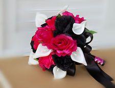 **-Hot Pink,Black,White.Bridal Wedding Bouquets,Boutonnieres