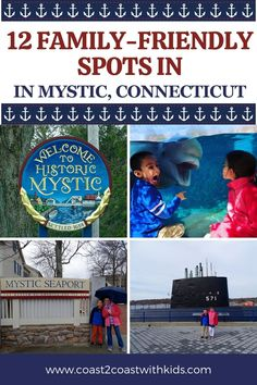 This seaside town offers countless ways to have fun, but start with these 12 activities that include an aquarium, living history museum, submarine tour, nature centers, and more! Travel With Kids, Family Travel, Olympic Size Pool, Mystic Connecticut, Mystic River, New England Travel, Tug Boats, Seaside Towns, Nature Center