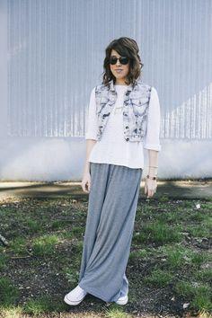 Maxi Skirt, sweater, jean vest