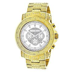 Iced Out Luxurman Mens Diamond Watch w Chronograph Yellow Gold Plated 2ct - Brought to you by Avarsha.com