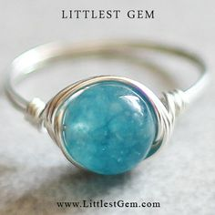 Blue Quartz Ring wire wrapped ring wire wrapped by littlestgem, $18.00