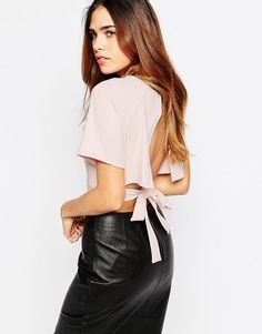 Image 1 of ASOS Kimono Crop Top With Obi Tie And Open Back